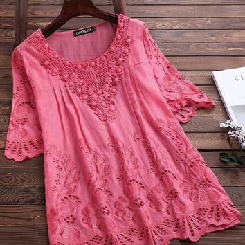 Vintage Embroidery Crochet Hollow Half Sleeve Blouse