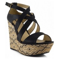 Soda Ascent Ankle Strap Open Toe Multi Color Platform Wedge Sandals BLACK