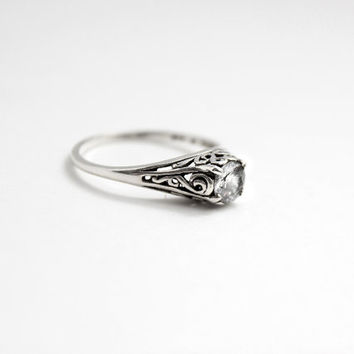 Filigree White Sapphire Engagement Ring in Sterling Silver - Engagement Ring, Wedding Ring, Promise Ring