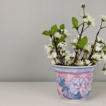 Vintage Porcelain Planter Chinese Hand Painted, Pink Blue Turquoise Ceramic Planter, Pink Turquoise Ceramic Flower Pot, Vintage Home Decor