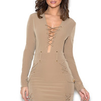 Clothing : Bodycon Dresses : 'Thamina' Taupe Lace Up Stretch Crepe Dress