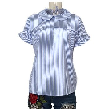 CP Summer 2017 New Women Blue Striped Short Sleeve Tops Shirts Fashion Lady New Loose Ruffled Shirts Girls Blouses High Quality