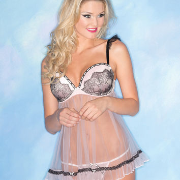 Classic Lace Overlay Babydoll