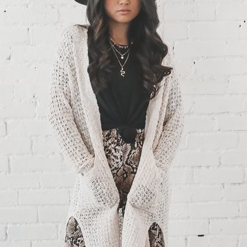 Hug It Out Cream Knit Cardigan