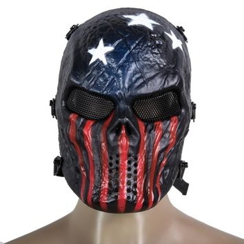 *Airsoft Paintball Full Face Protection Skull Mask Army Games Outdoor Metal Mesh Eye Shield Costume for CS Cosplay Party