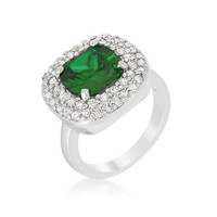 Micropave Green Bridal Cocktail Ring, size : 09