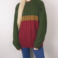 Vintage 90s Autumn Striped Knit Sweater