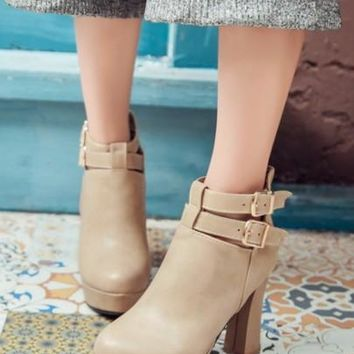 New Women Beige Round Toe Chunky Add Feathers Buckle Casual Ankle Boots