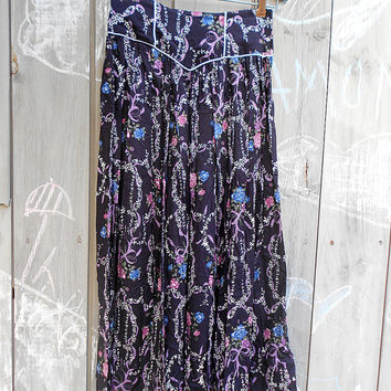 Vintage skirt | Scott McClintock hippie prairie style calico dark floral drop waist skirt
