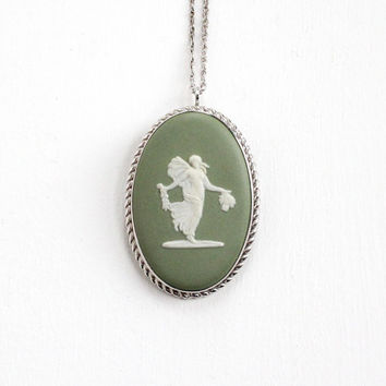 Vintage Wedgwood Sterling Silver Goddess Cameo Necklace - Green Jasperware English Oval Pendant Charm Jewelry Pin Hallmarked Van Dell