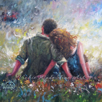 Loving Couple Art Print, lovers hugging wall art, romantic art, red head lady, teal green, happy couple married love, Vickie Wade Art
