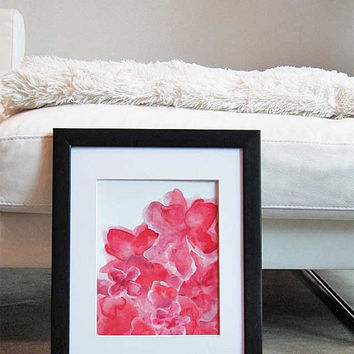 Red Watercolor Art Print 8x10 Abstract Floral Contemporary Painting Red Watercolor Flower