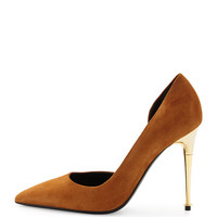 TOM FORD Suede Half-d'Orsay Pump, Biscuit