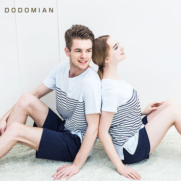 2017 Summer Short-sleeve Striped Lovers Home Clothing Couples Matching Pajamas Adult Pajamas 2 Piece Sets Lovers Sleepwear