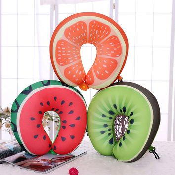 Cute U-Shaped Pillow Fruit Nanoparticles Office Nap Car Airplane Headrest Nursing Travel Neck Cushion Pillowes 30*30cm E2S