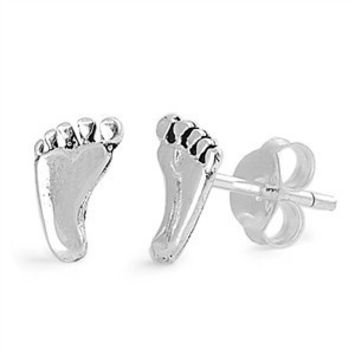 Sterling Silver Single Feet Stud Earrings