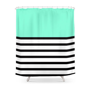 Society6 Tiffany Black And White Stripes Pattern Shower Curtains