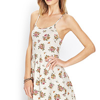 FOREVER 21 Cluster Floral Cami Dress Cream/Multi Large