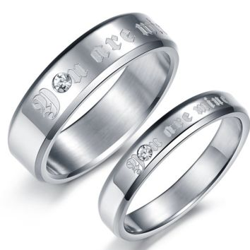 "new arrival stainless steel couple finger rings, ""You are mine"" Love Engagement Ring"