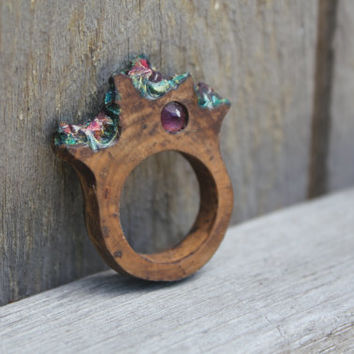 Wood Statement Ring | Size 8 | Sculpture | Boho Modern | Gifts For Her | Amethyst | Gold Blue Pink