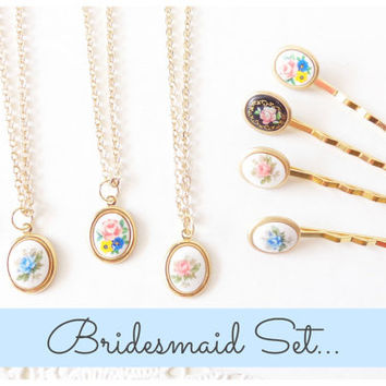 Bridesmaid Gift Set - Flower Cameo Necklace - Flower Hair Pin - Gold - Whimsy - Bridal - Bridesmaid