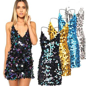 women sequin sundress sexy backless dresses with spaghetti strap 408abfbebab1