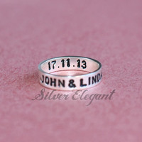 Hand Stamped Name Ring - Custom Name Ring - Unique Ring - Sterling Silver