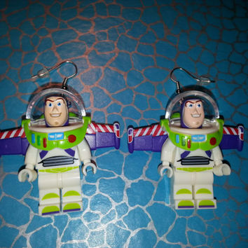 Hand Made Novelty BUZZ LIGHTYEAR Dangle EARRINGS ~ Made using Lego(r) Compatible Pieces ~ Ideal Gift ~ Same Day Dispatch