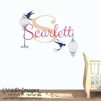 Bird cages with name nursery wall decal, nursery decor, kids wall decal, bird wall decal, girls decor, nursery decals, childrens name decal