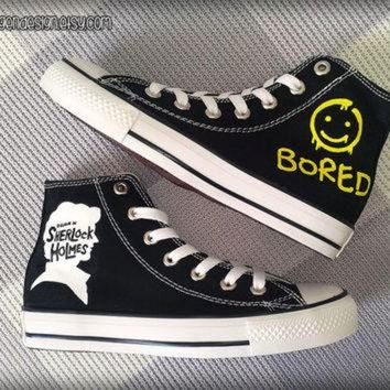 VONR3I Sherlock 'Bored' Painted Shoes / Custom Converse