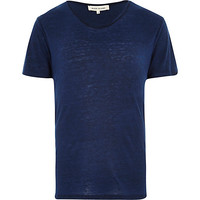 River Island MensBlue burnout low scoop neck t-shirt