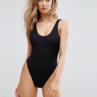 Missguided Ribbed Low Back Swimsuit at asos.com