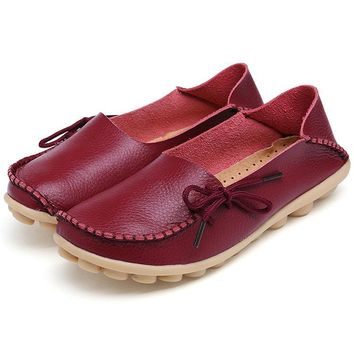 Women Genuine Leather Loafers Nurse Slip On Flat Oxford Shoes