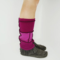 Grunge Leg Warmers in Magenta Fuchsia Bubblegum Pink - Upcycled Wool Sweaters