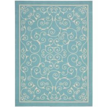 Nourison, Home and Garden Pavilion Light Blue 10 ft. x 13 ft. Indoor/Outdoor Area Rug, 112002 at The Home Depot - Mobile