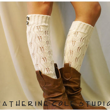 Open crochet knit leg warmers ivory / womens leaf knit pattern  great with cowboy boots by Catherine Cole Studio legwarmers open work