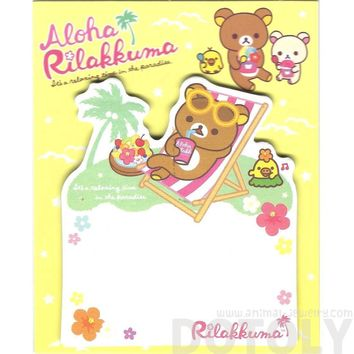 Rilakkuma Teddy Bear on a Beach Chair Shaped Adhesive Post-it Memo Pads