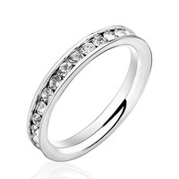 Hot Ring Gifts Jewelry Womens 316L Stainless Steel 1Ct Rings Eternity Ring Accessories for Wedding & Events (Silveren SI0189)