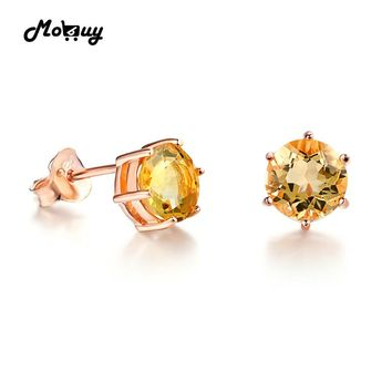 MoBuy MBEI027 Classic Simple Style Natural Gemstone Citrine Stud Earrings 925 Sterling-Silver-Jewelry Rose Gold Plated For Women