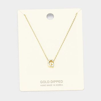 'G' Gold Dipped Metal Pendant Necklace