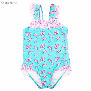 Baby Girls Swimwear Light Blue with Pink Flower Pattern 2-4Y Kids Swimsuit Children One Piece Swimming suit sw0603 Frills Design