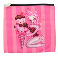 Fluff Chocolate Ice Cream Makeup Bag Cosmetic Bag Pouch