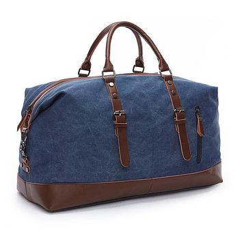 Fashion Canvas Leather Men Travel Bag Large Capacity Men Hand Luggage Travel Duffle Bags Weekend Bags Multifunctional Tote Bag