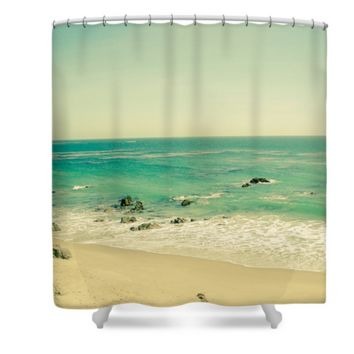 Vintage Retro California Beach Polyester Fabric Shower Curtain