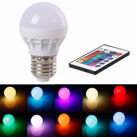 Multicolor LED Light 16 Color Changing LED Light Bulb with Remote Control Dimmable