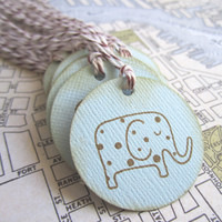 Vintage Inspired Baby Elephant Gift Tags in Blue