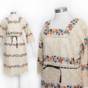Vintage 60s Mexican Wedding Dress - Sheer Embroidered Crochet Lace Floral 1960s - Large