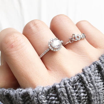 Cutie halo sterling silver ring