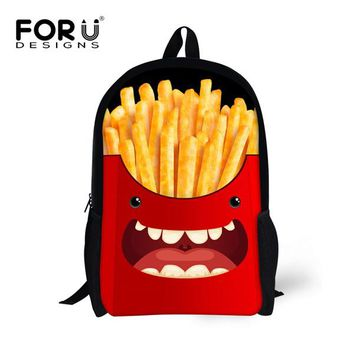Toddler Backpack class European and American style Backpack for Kids Creative Artist French Fries Pattern School Bagpack High Quality Toddler Backbag AT_50_3