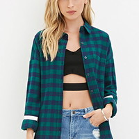 Varsity-Striped Plaid Shirt